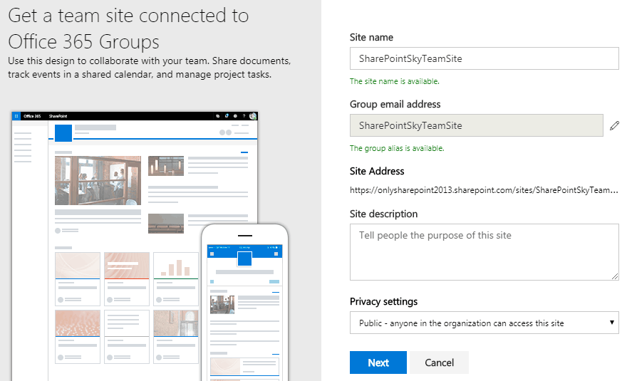 SharePoint online how to create new modern team site