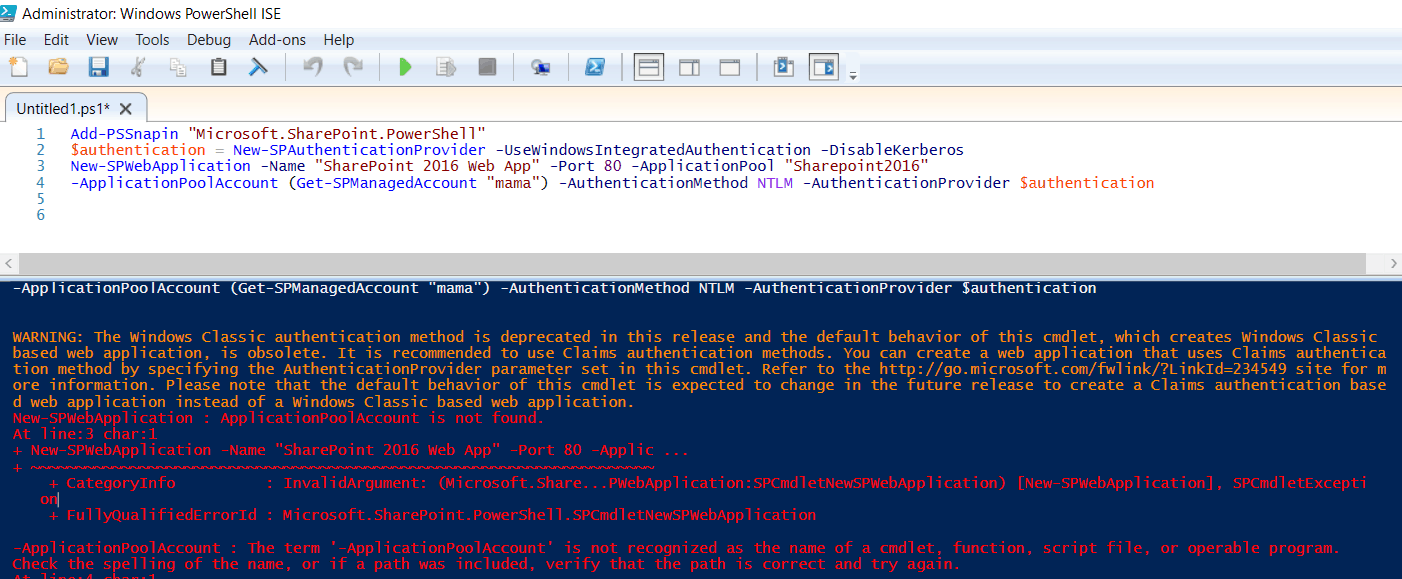 New-SPWebApplication ApplicationPoolAccount is not found