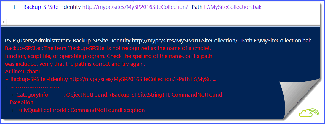 The term Backup-SPSite is not recognized as the name of a cmdlet function script file or operable program