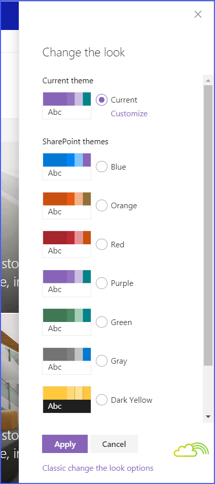 How to change theme in SharePoint online hub site?