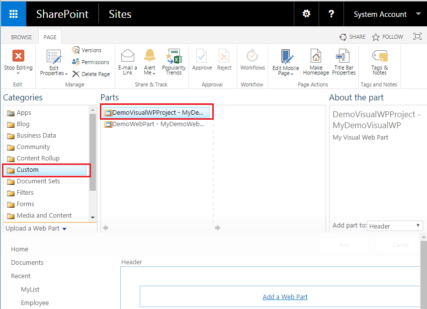 SharePoint 2016 visual web part: Add visual web part to web part page