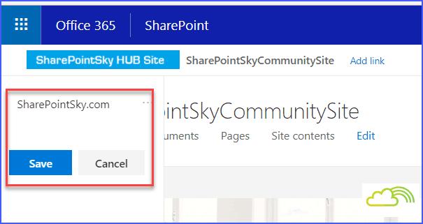 Hub site add link to navigation