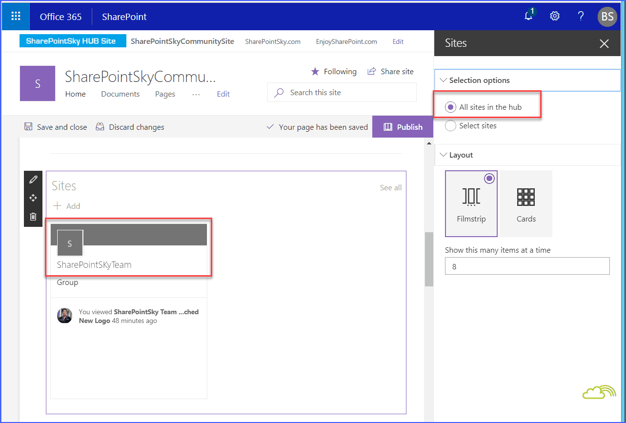 Add site web part to Hub site SharePoint online