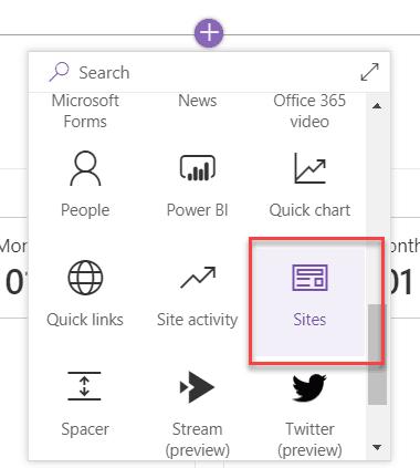 SharePoint online hub site add site web part