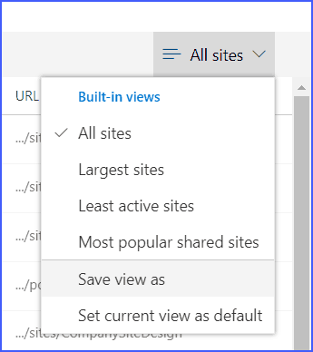 Office 365 SharePoint online admin center site views