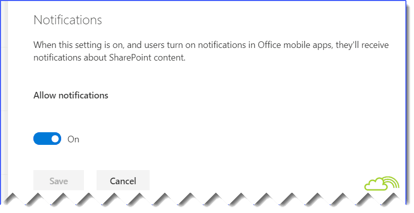 Notifications settings in new SharePoint online admin center