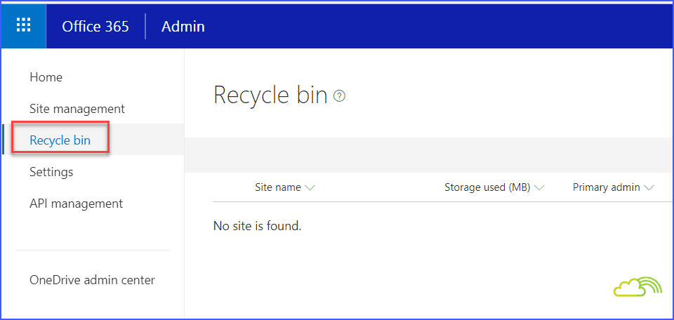 Recycle Bin in SharePoint online new admin center