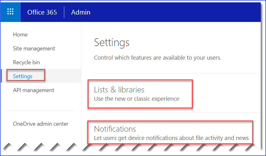SharePoint online admin center settings page