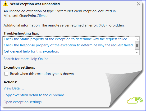 the remote server returned an error (403) forbidden sharepoint client object model