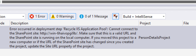 error occurred in deployment step recycle iis application pool cannot connect to the sharepoint site