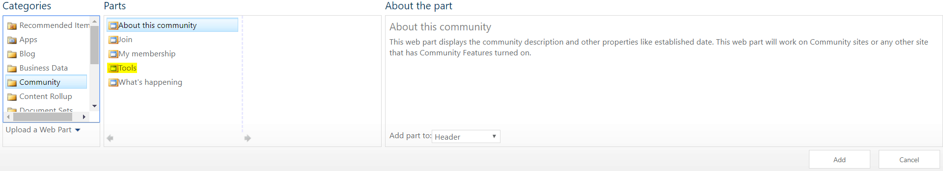 community tools web part in sharepoint