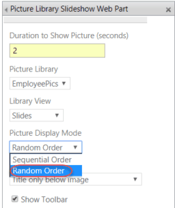 picture library slideshow web part sharepoint 2016