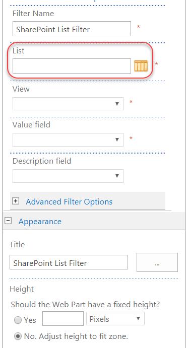 sharepoint online list filter web part