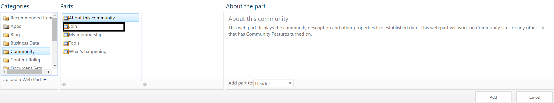 sharepoint 2013 join community button