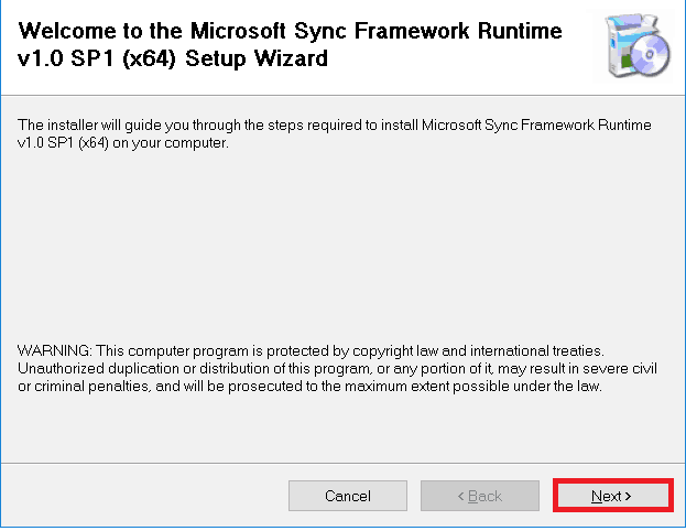 microsoft sync framework runtime v1.0 sp1 (x64) download error sharepoint 2016
