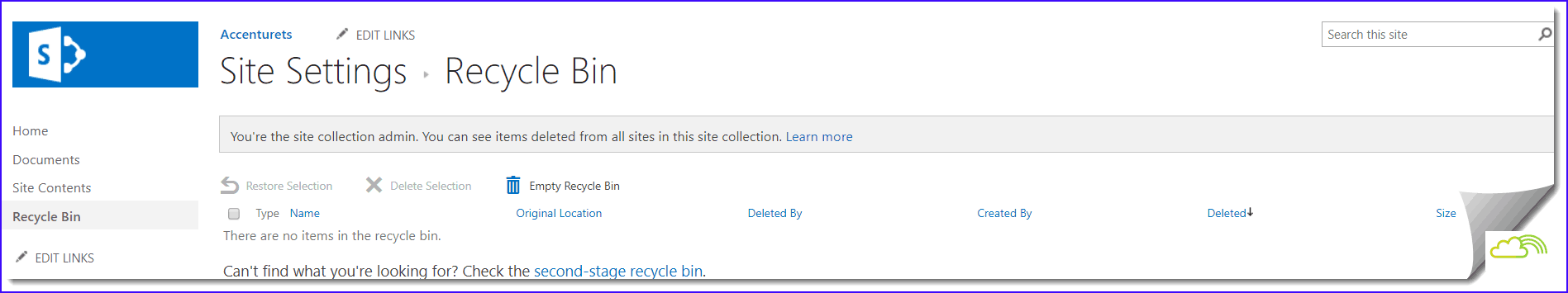 sharepoint 2016 team site recycle bin