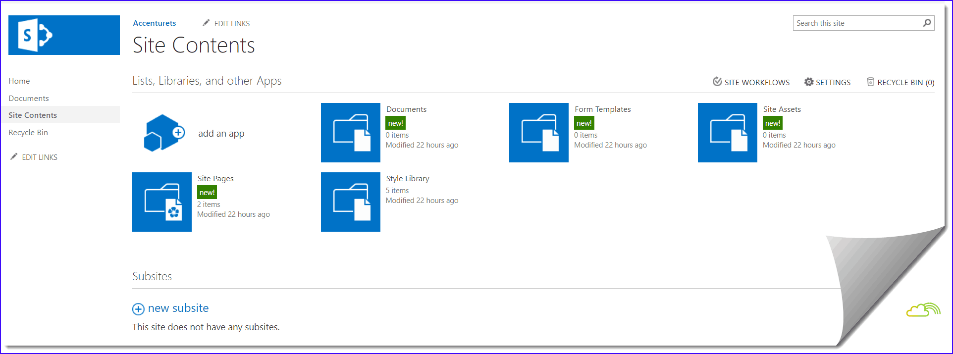 sharepoint 2016 team site site contents
