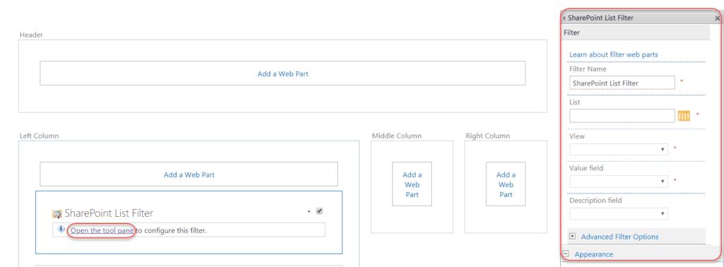 sharepoint 2016 list filter web part