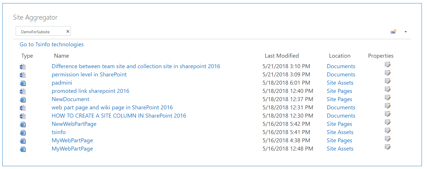 what is site aggregator in sharepoint