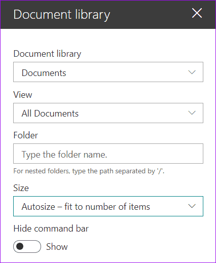 Document Library web part in modern page in SharePoint