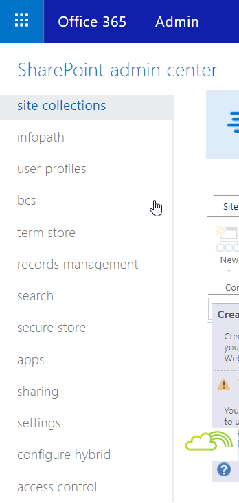 Enable advanced option sharepoint online admin center