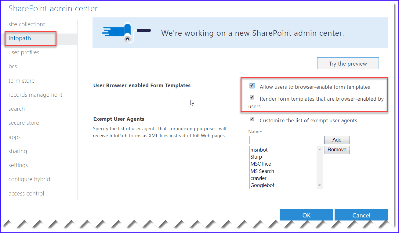 enable infopath forms services sharepoint online