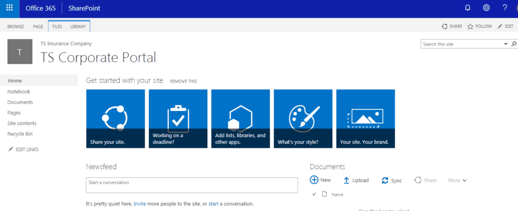 how to create a sharepoint site in office 365