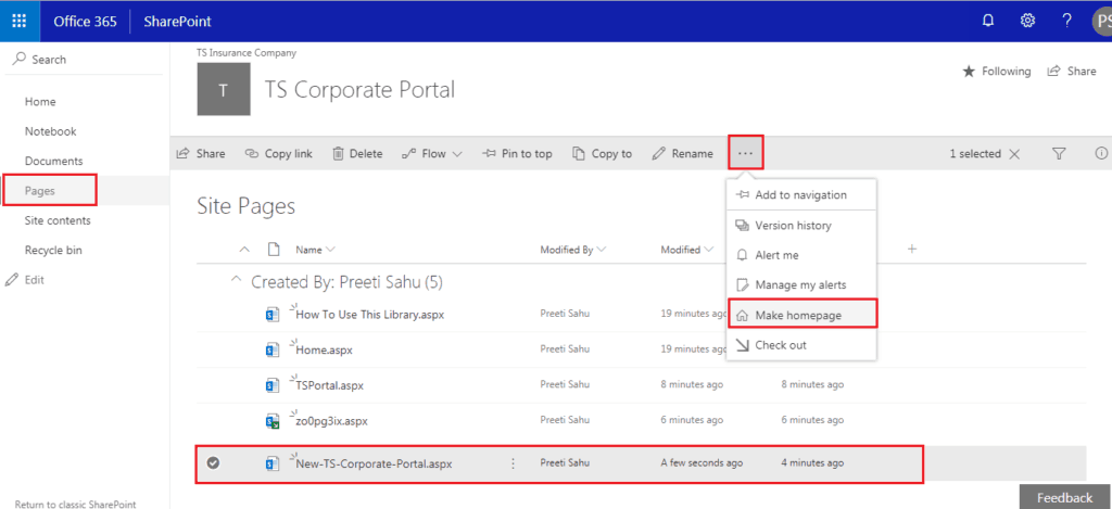 sharepoint online set page as homepage
