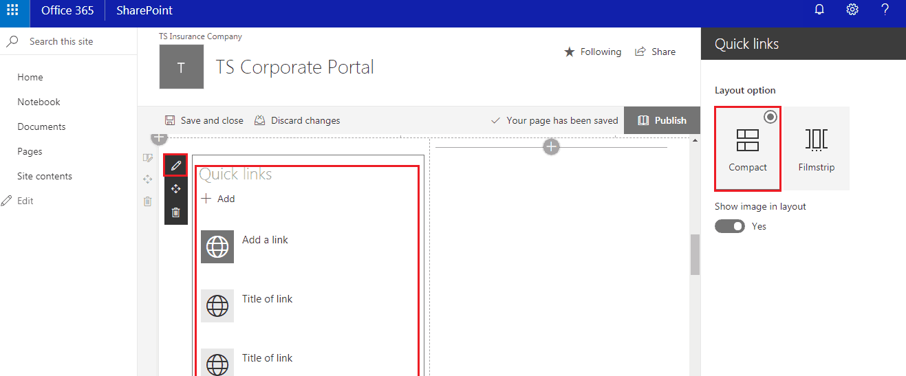 SharePoint quick links web part missing