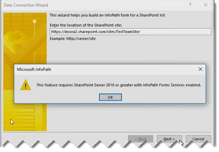 f4269d99bcb this feature requires sharepoint 2010 or greater with infopath forms  services enabled