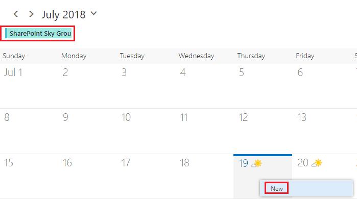 schedule metting in SharePoint online group calendar