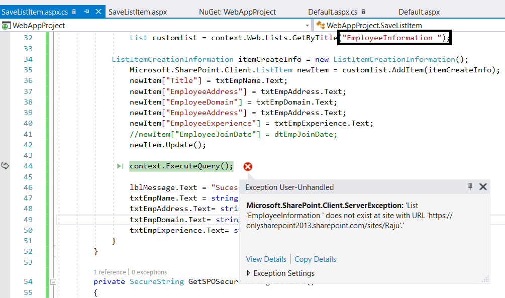 Microsoft sharepoint client serverexception: list does not