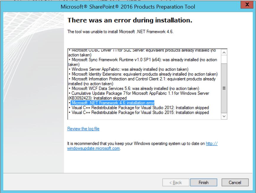 microsoft .net framework 4.6 installation error sharepoint 2016