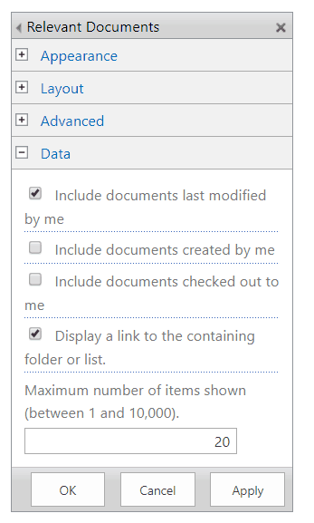 sharepoint 2016 relevant documents web part