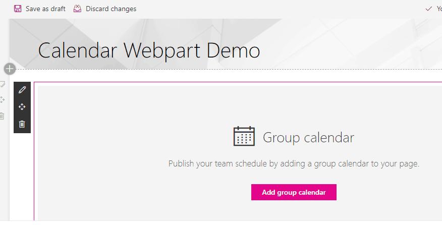 Add sharepoint online group calendar web part