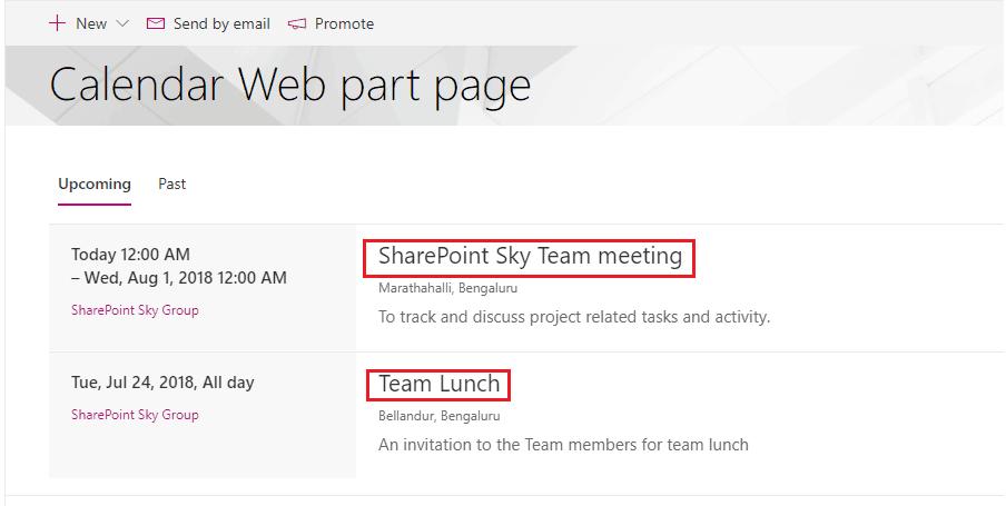 sharepoint online group calendar