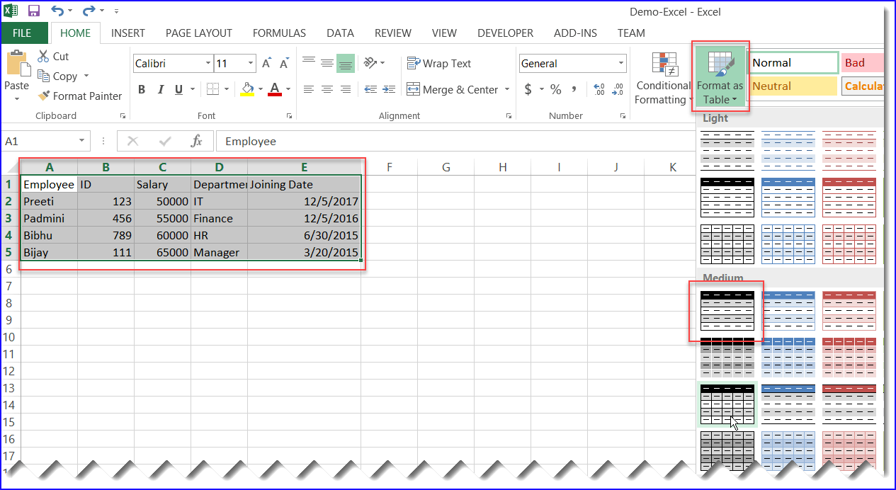 How to format the Excel File into Table