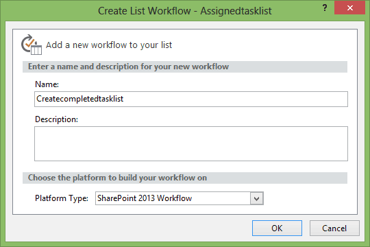 create list item workflow action