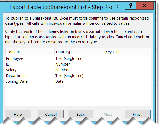 export excel data to sharepoint online list office 365