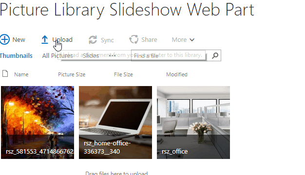 picture library slideshow web part