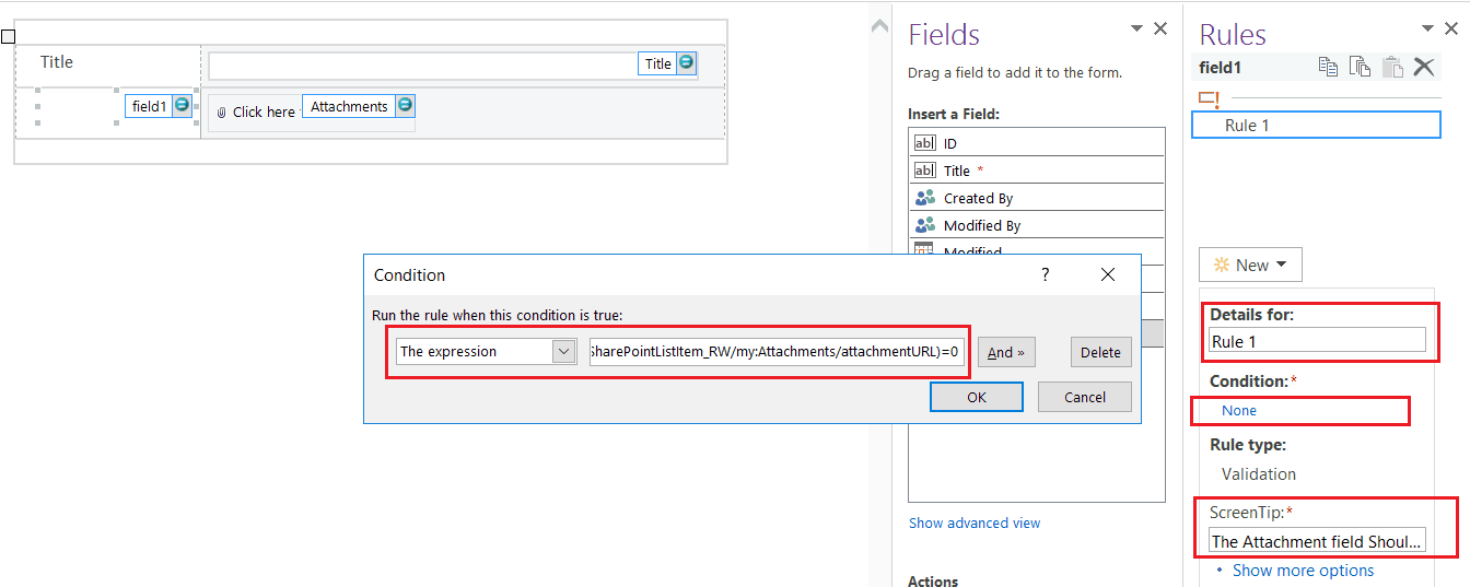 make attachment mandatory in sharepoint list infopath