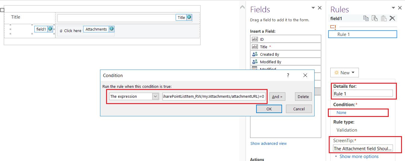 make attachment mandatory in sharepoint list infopath