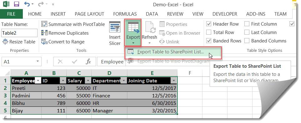 import excel spreadsheet into sharepoint list