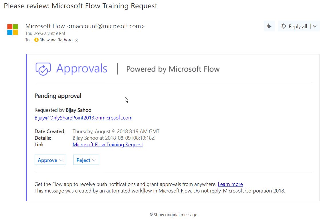Microsoft Flow approval email