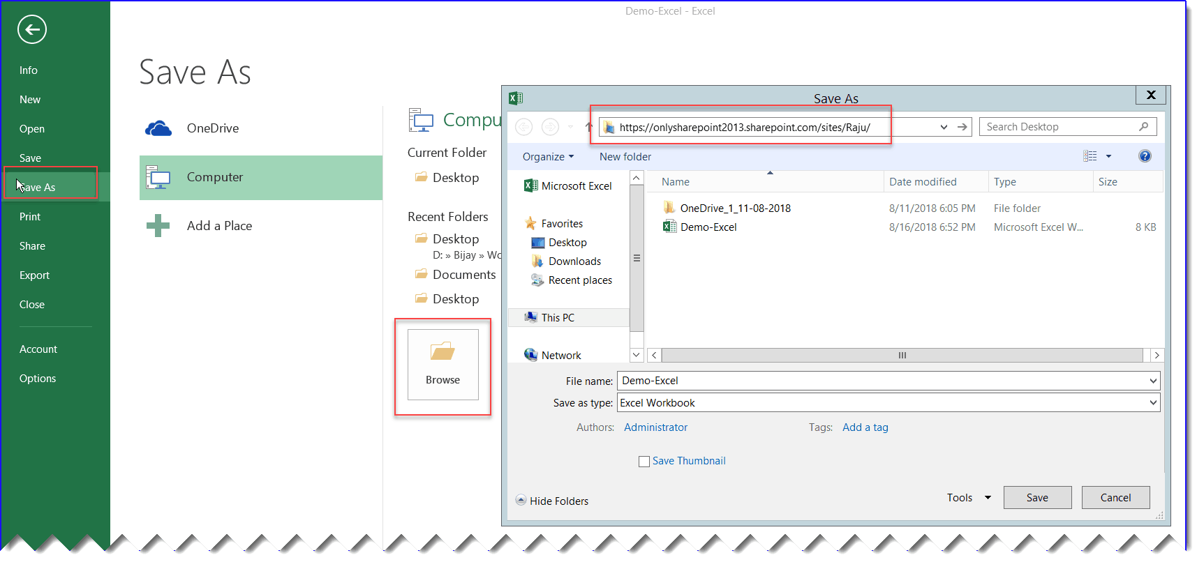 directly save excel file to SharePoint online