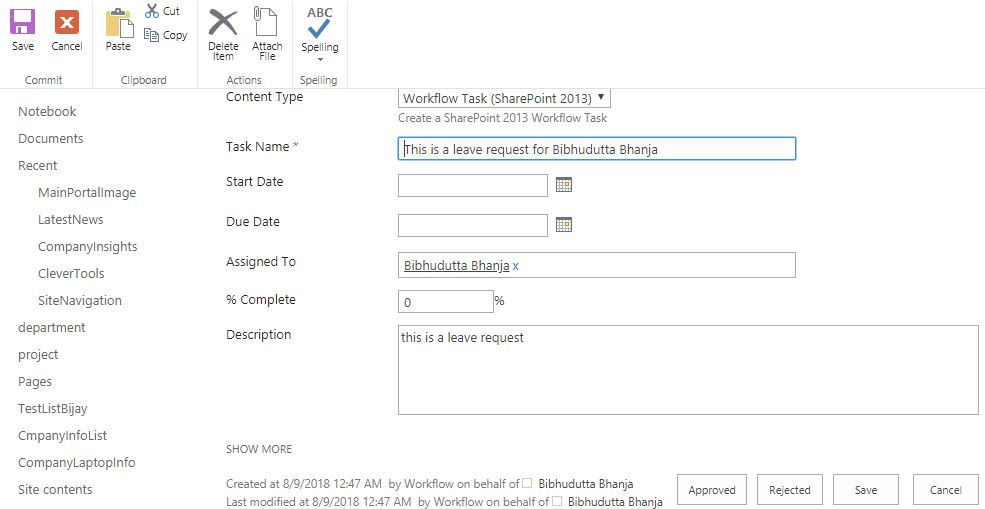 start a task process sharepoint designer workflow example