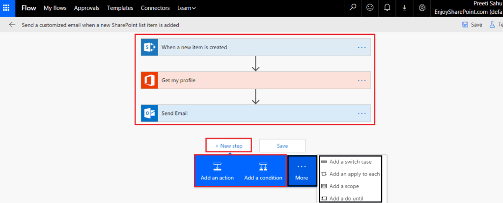 microsoft flow demo on Send a Customized email when a new SharePoint list item is added