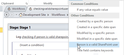 person is a valid sharepoint user