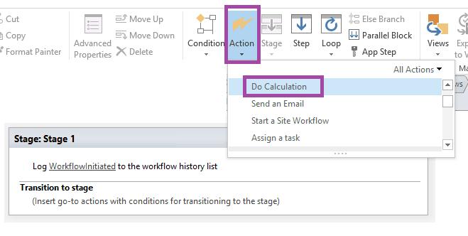 do calculation sharepoint workflow