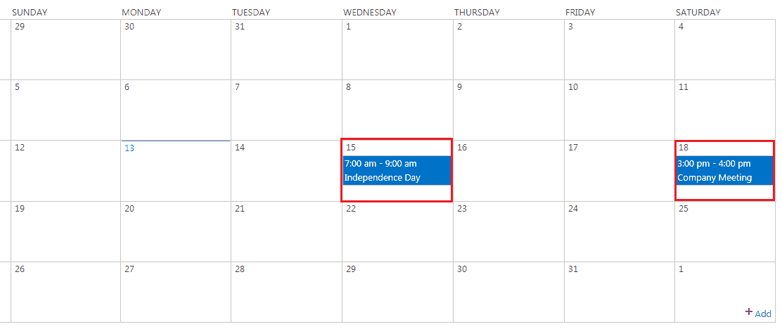sharepoint calendar web part customization